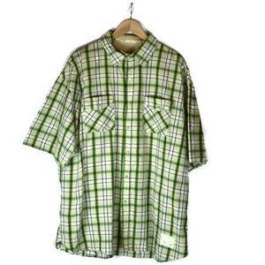 Diesel plaid button down shirt green men's 3XL